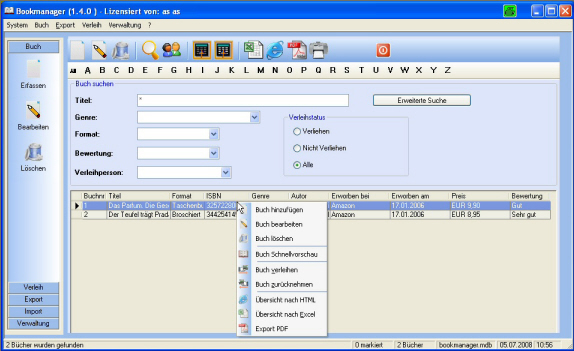 Bookmanager Professional Screen shot